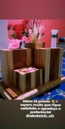Porta canetas em madeira com 3 compartimentos + torre Jardim  (Dias Davila)