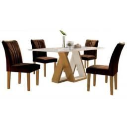 Mesa Belle com 4 cadeiras 1,20m Off White Marrom Cel Móveis