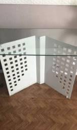 Mesa de vidro pés de ferro 100×64