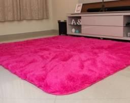 Tapete peludo cor rosa Pink