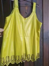 Blusa de couro fake amarelo 46