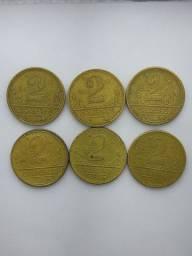 6 moedas de 2 Cruzeiros