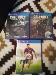 Jogos de PlayStation 4: Call of Duty:Ghosts;Call of Duty:Advanced Warfare,Fifa 15