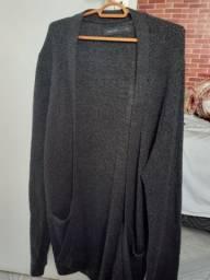 Cardigan masculino Lã grossa mesclado Preto e Cinza