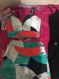 Novos, conjunto, vestido justo e blusa