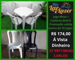 Cadeira Plastica Bistrô + Mesa 70x70