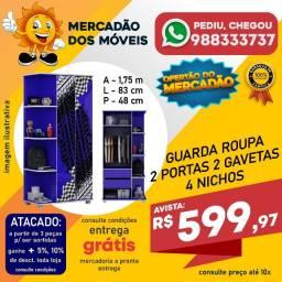 Roupeiro Infantil Azul 2 Portas 2 Gavetas 4 Nichos Em Oferta!!!