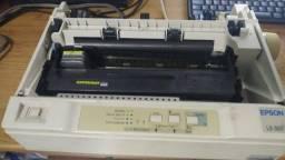 Impressora Epson LX-300 LX300 funcionando com cabo serial (LPT) e cabo de energia
