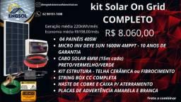 Kit Energia Solar Completo On Grid Geração média 220KWh/mês