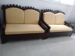 Sofá rústico madeira maciça (OFERTA)