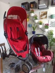 Carrinho de Bebê Quinny Zapp Cor Vermelha e bebê conforto