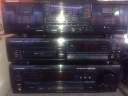 Som Pionner Receiver, Deck Duplo, CD Gaveta, Mesa 04 Canais Zero