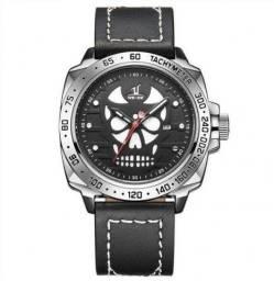 Relógio Masculino Weide Analógico UV-1510 Skull - Preto, Prata e Branco