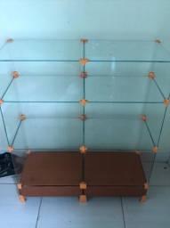 Vitrine mais mesa de vidro de loja