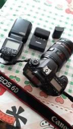 Canon 6D Mack 1 duas baterias, lente 24×70, Flash profissional