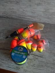 Linha de pesca e bóias