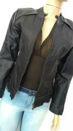 Jaqueta de couro legítimo feminino.