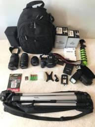 Câmera dslr Canon Eos 90D com 3 lentes e acessórios