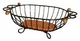 Cesto de frutas de mesa artesanato rústico feito de ferro e madeira formato oval