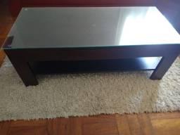 Mesa de centro com tampo de vidro e gaveta