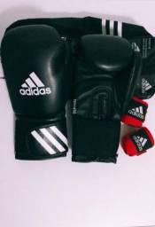 Luva Adidas Box Muay Thai e Bandagens Elásticas Adidas