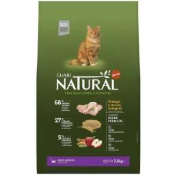 -Ração Guabi Natural Frango e Arroz Integral para Gatos Adultos 7,5 kg