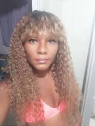 Cabelo humano peruca cacheada c/franja