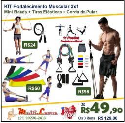 Título do anúncio: KIT Fortalecimento Muscular 3x1 Mini Bands + Tiras Elásticas + Corda de Pular