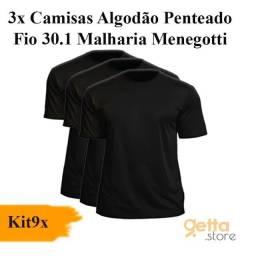 KIT 9 Peças ? 3 Camisas Masculina + 3 Meias + 3 Cuecas