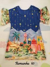 Vestido infantil estampado - Tamanho 10