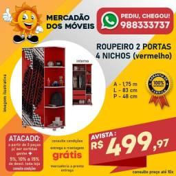 Roupeiro Infantil 2 Portas 2 Gavetas 4 Nichos Vermelho Em Promoção!!!