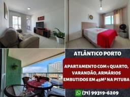 Atlântico Porto, 1 quarto, varandão, armários embutidos em 45m² na Pituba - Maravilhoso