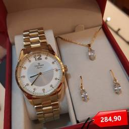 Título do anúncio: Relógio Champion Feminino Dourado + Colar & Brincos De Brinde!