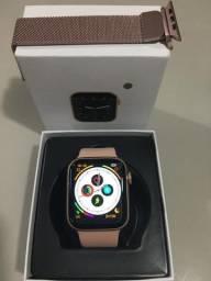 Relogio smartwatch iwo w26+ gold rose tela infinita com pulseira extra