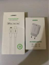 Fonte turbo 18W + Cabo USB-C Ugreen para iPhone