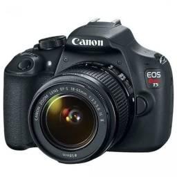 Câmera T5 mais flash externo e tripé