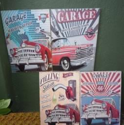 4 Placas Vintage Garage Service Carros