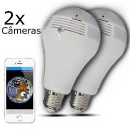 Kit 2 Câmeras Ip Segurança Lâmpada 360 Panorâmica Espia Wifi