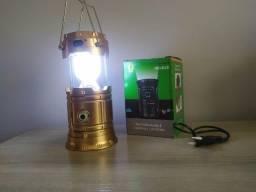 2 em 1 Lampião e Lanterna Recarregável (Solar ou na tomada)