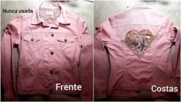 Jaqueta jeans rose/Casaco cotele indiano