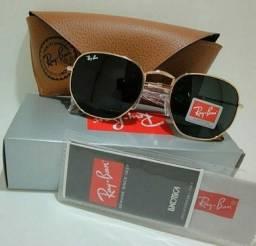 Óculos Ray Ban Hexagonal preto metal dourado importado unissex