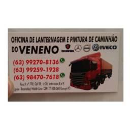 Oficina de lanternagem e pintura de caminhões