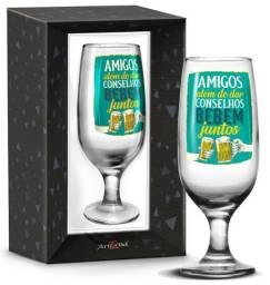 Taça amigos bebem juntos + caixa presente 1755