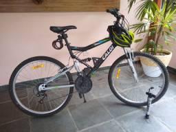 Bicicleta Caloi Full Suspension 21 v aro 26 + capacete e bomba de ar