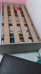 Cama de solteiro cabeceira embutida na parede (cor rovere)