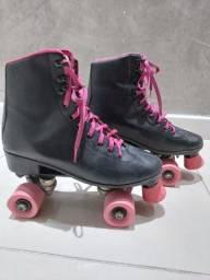 Patins Oxer Retro 4 rodas Preto/Pink