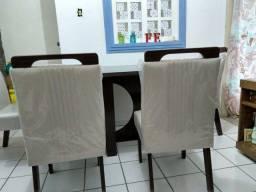 Mesa tampo de vidro c 4 cadeiras mdf
