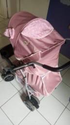 Carrinho Bebê Berço Reversível Thor Tutti Baby - Rosa + Roupinhas feminidas de Brinde