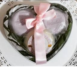 Lembrança coração com sabonetes natura