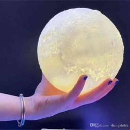 Luminária Lua Cheia 3D 16 Cores Bluetooth Caixa de Som